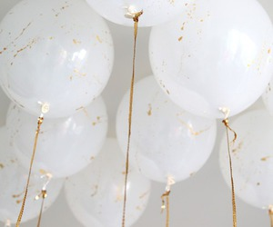 balloons, gold, and wedding image