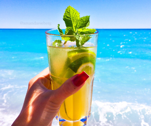 drink, beach, and girl image
