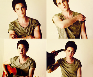 logan lerman, boy, and guitar image