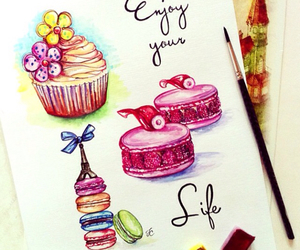 cupcakes, drawing, and macaroons image