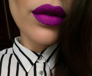 lips, lipstick, and purple image