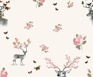 deer, wallpaper, and flowers image