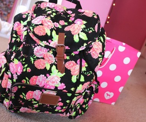 pink, backpack, and flowers image