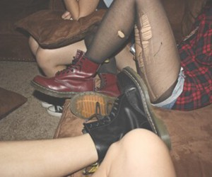 combat boots, doc martens, and flannel image