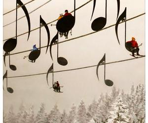 music, winter, and snow image