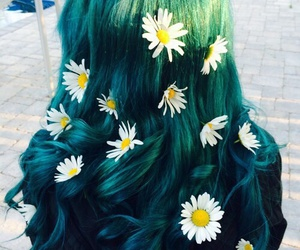 flowers, green hair, and hipster image