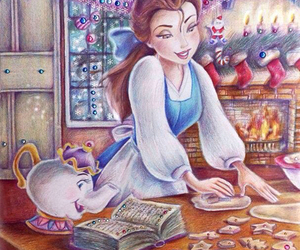 disney, belle, and christmas image