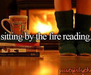book, fire, and reading image