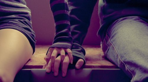 boy and girl, couple, and holding hands image