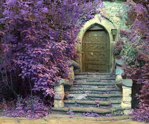 door, purple, and stairs image