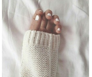 white, nails, and sweater image