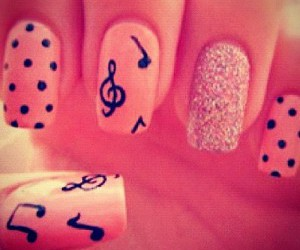 nails, music, and pink image