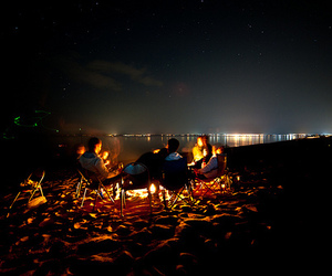 beach, night, and friends image