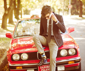 car, boy, and red image