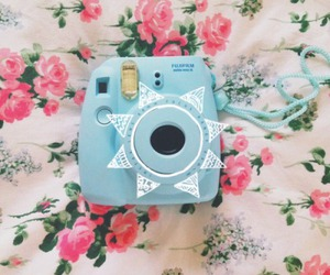 polaroid, blue, and camera image