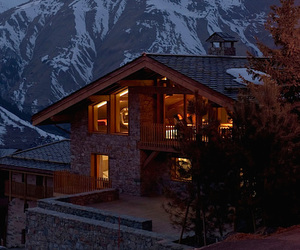 house, mountains, and snow image