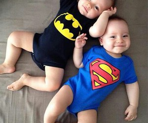 baby, superman, and batman image