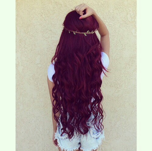 hair, red, and long image