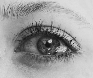 black and white, eye, and tears image