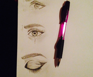 drawing, eyes, and pencil image