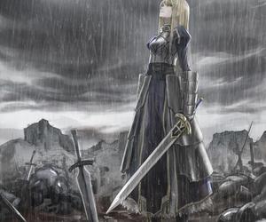 anime, saber, and rain image