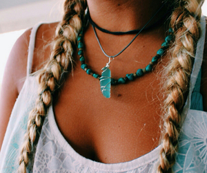 hair, necklace, and blue image