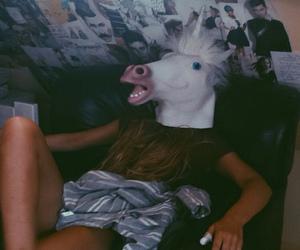 unicorn, girl, and grunge image