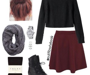 skater skirt, sock bun, and burgundy skater skirt image
