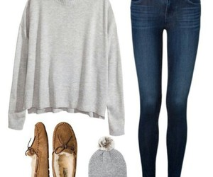 moccasins, dark wash jeans, and grey long sleeve image