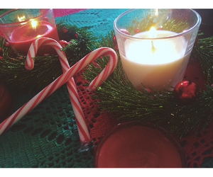 candles, christmas, and candycane image