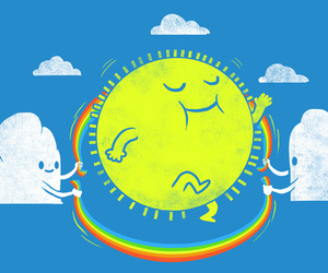 sun, clouds, and funny image