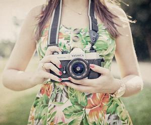 girl, camera, and yashica image