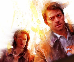 drawing, sam winchester, and castiel image