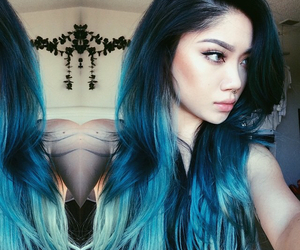 blue hair, hair, and blue image