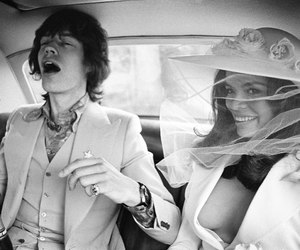 mick jagger, black and white, and bianca jagger image