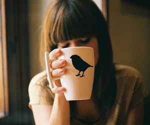 girl, bird, and cup image