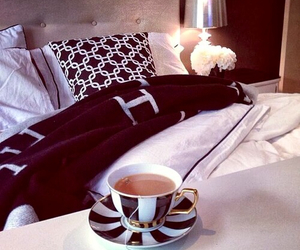 bed, tea, and luxury image