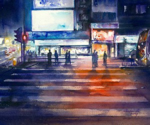 art, watercolor, and cityscape image