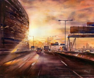 art, cityscape, and highway image