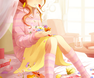 flowers, girl, and sick image