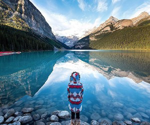 lake, mountains, and girl image