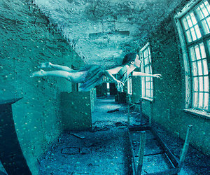 girl, room, and swimming image