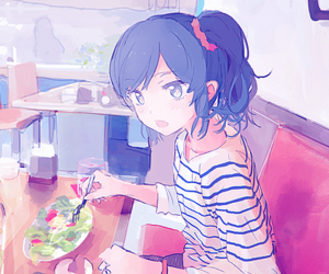 anime, girl, and blue image