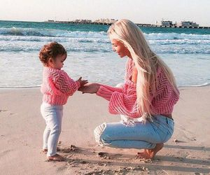 baby, pink, and beach image