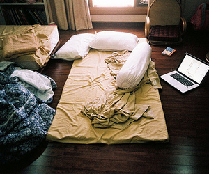 bed, room, and photography image