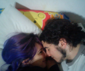 blue hair, couple, and kiss image