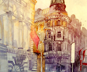 art, watercolor, and city image