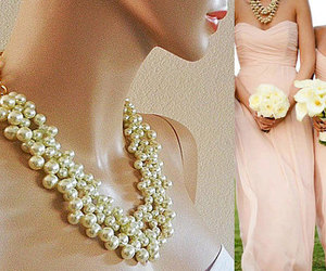 chunky pearl necklace, pearl statement necklace, and cream pearl necklace image