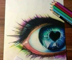 eye, drawing, and heart image