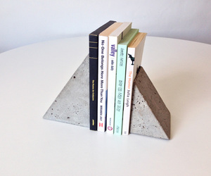 bookends, concrete, and diy image